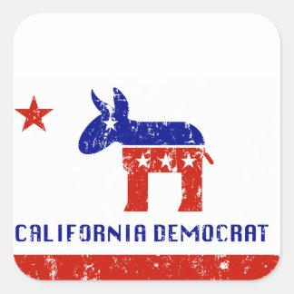 California Demócrata apenado Pegatina Cuadrada