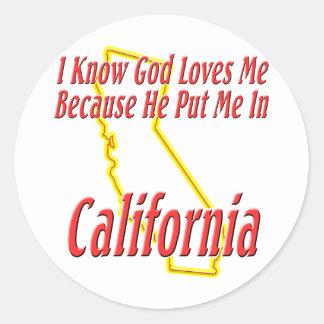California - dios me ama etiquetas redondas