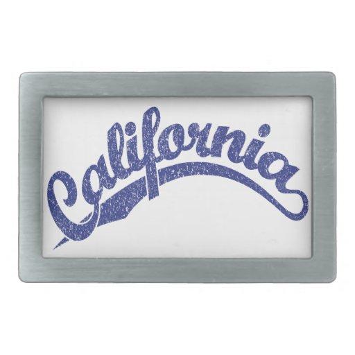 California Distressed Script Logo in Blue 2 Rectangular Belt Buckles