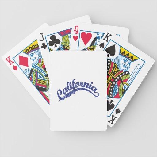 California Distressed Script Logo in Blue 2 Card Deck