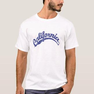 California Distressed Script Logo in Blue 2 T-Shirt