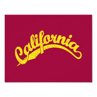 California Distressed Script Logo in Yellow 4.25x5.5 Paper Invitation Card