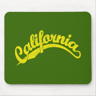 California Distressed Script Logo in Yellow Mouse Pad