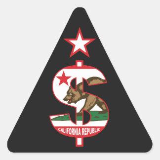 California Dollar Sign Triangle Sticker