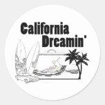 California Dreamin Pegatina Redonda