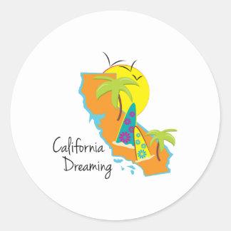 California Dreaming Classic Round Sticker