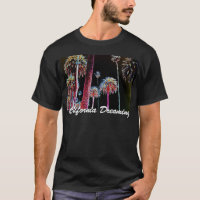 California Dreaming Neon Palm Tree Mens T-Shirt CA