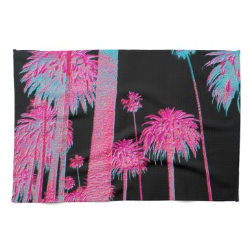 Beach Themed California Dreaming Neon Palm Trees Kitchen Towel