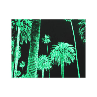 California Dreaming Neon Palm Trees wrapped canvas Stretched Canvas Print