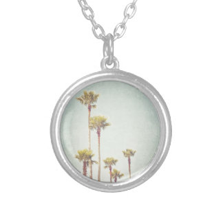 California Dreaming Retro Palm Tree Photography Round Pendant Necklace
