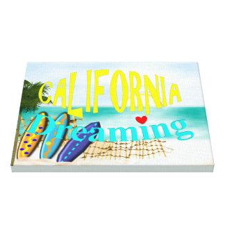 California Dreaming Sunny Sea Sand Surfing Scene Canvas Print