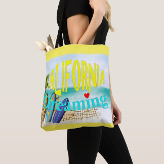 California Dreaming Sunny Sea Sand Surfing Scene Tote Bag