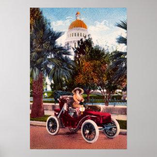California Driving, Vintage Car Poster