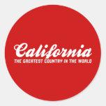 California el país más grande del mundo etiquetas redondas