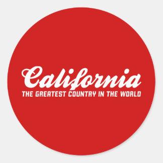 California el país más grande del mundo pegatina redonda