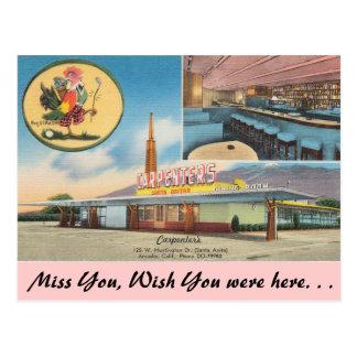 California, el restaurante del carpintero tarjetas postales