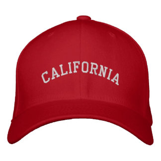 California Embroidered Flexfit Wool Cap Red