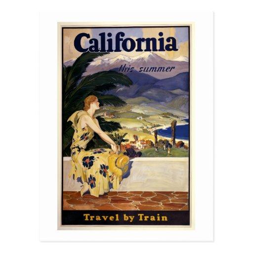 California este verano. Viaje en tren Tarjeta Postal