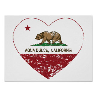 california flag agua dulce heart distressed.png poster