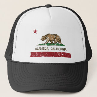 california flag alameda distressed trucker hat
