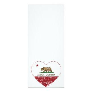 california flag alameda heart distressed 4x9.25 paper invitation card