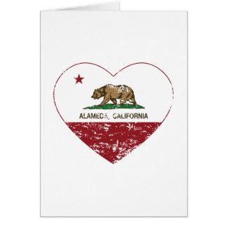 california flag alameda heart distressed greeting card