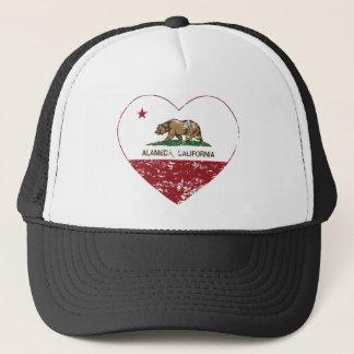 california flag alameda heart distressed trucker hat