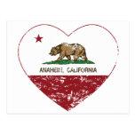 california flag anaheim heart distressed post cards