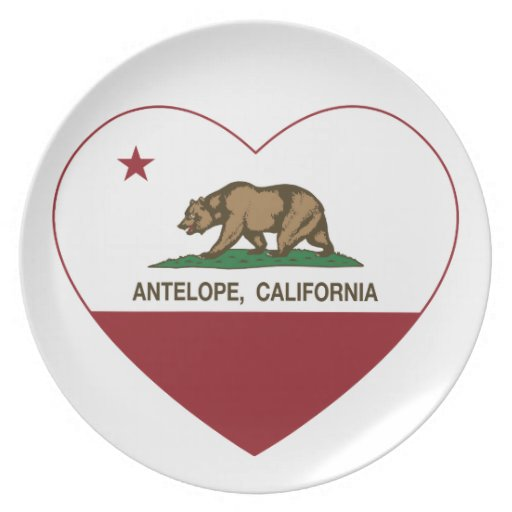 california flag antelope heart party plate