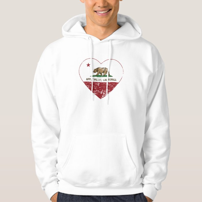 california flag apple valley heart distressed hoodie