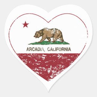 california flag arcadia heart distressed heart sticker