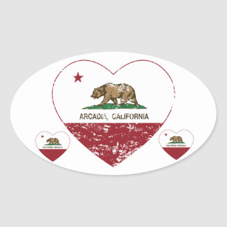 california flag arcadia heart distressed oval sticker