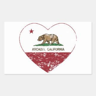 california flag arcadia heart distressed rectangular sticker