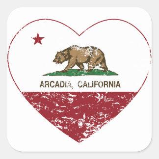 california flag arcadia heart distressed square sticker