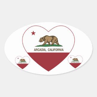 california flag arcadia heart oval sticker