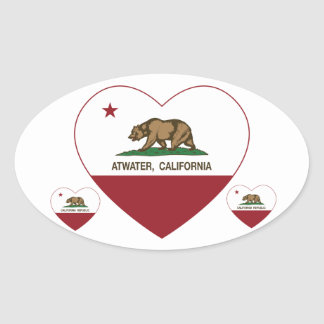 california flag atwater heart oval sticker