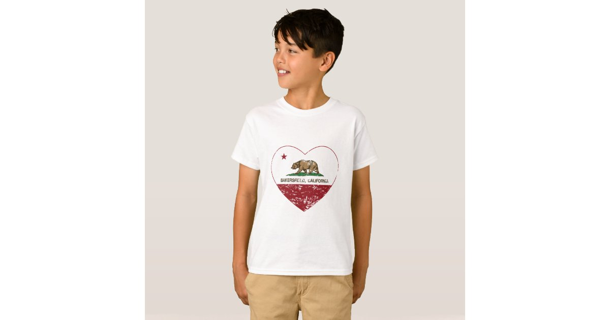 California flag bakersfield heart t shirt for T shirt outlet bakersfield ca