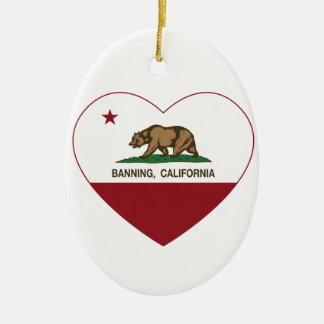 california flag banning heart ornament