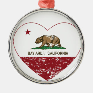 california flag bay area heart distressed round metal christmas ornament