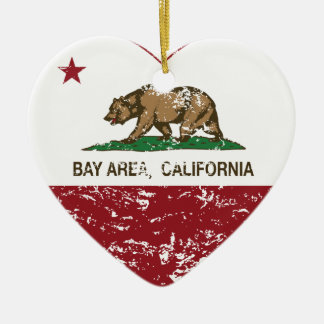 california flag bay area heart distressed Double-Sided heart ceramic christmas ornament