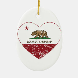 california flag bay area heart distressed Double-Sided oval ceramic christmas ornament