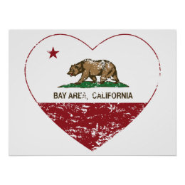 california flag bay area heart distressed poster
