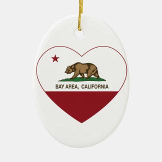 california flag bay area heart Double-Sided oval ceramic christmas ornament