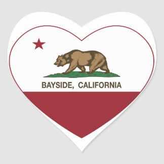 california flag bayside heart heart sticker