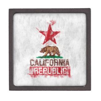California Flag Bear in Painterly Style Keepsake Box