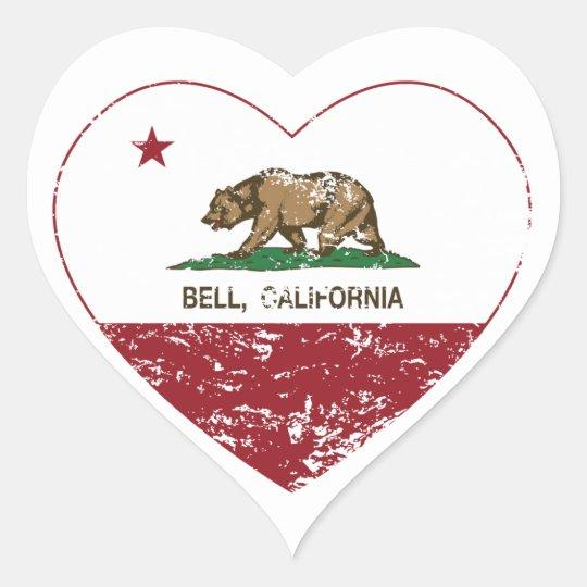 california flag bell heart distressed heart sticker