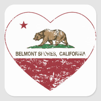 california flag belmont shores heart distressed square sticker