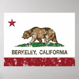 california flag berkeley distressed poster