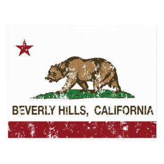 california flag beverly hills distressed postcard