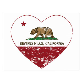 california flag beverly hills heart distressed postcard